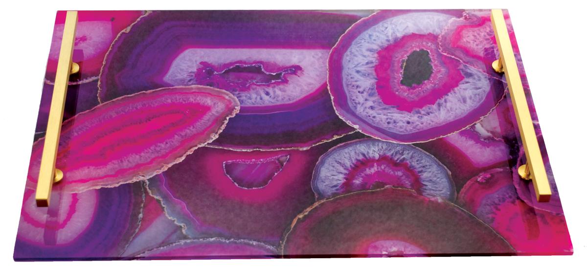 Sleek-Acrylic-Agate-Tray,-Rectangle---Pink